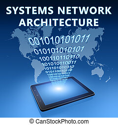 Systems Network Architecture illustration with tablet...