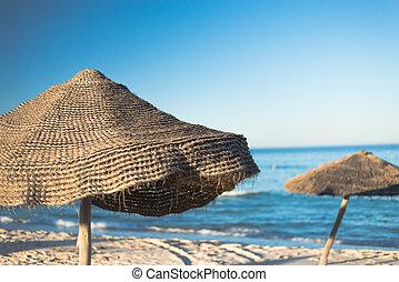 Natural Beach Umbrella 2 - Natural Beach Umbrella with, Sky...