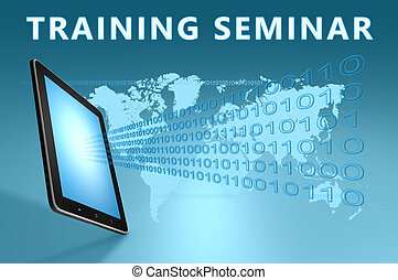 Training Seminar illustration with tablet computer on blue...