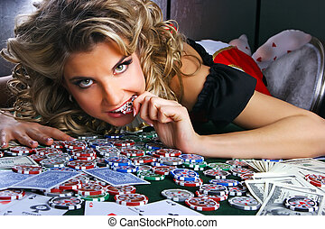 Poker and girl - Poker girl with chip in her mouth