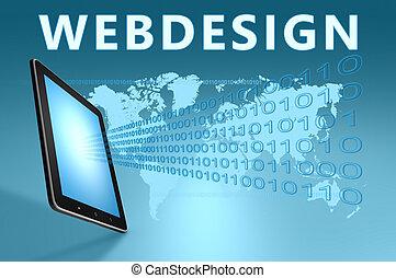 Webdesign illustration with tablet computer on blue...