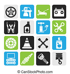 Transportation and car repair icons - Silhouette...