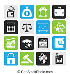 finance and bank icons - Silhouette Business, finance and...