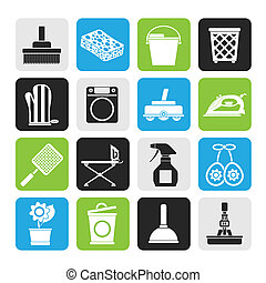 ousehold objects and tools icons - Silhouette Household...