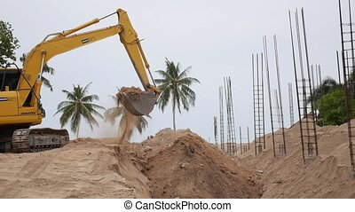Excavator Machine Digging Sand Slow Motion Thailand Koh...