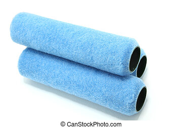 Paint Roller Covers - Stack of three blue polypropylene...