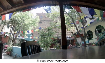 Hotel open air cafe. Kathmandu. Nepal, Full HD
