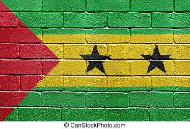 Flag of S�o Tom� and Pr�ncipe on brick wall