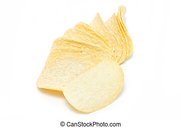 Potato chips isolated on white.