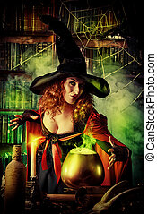 dark fear - Attractive witch in the wizarding lair...