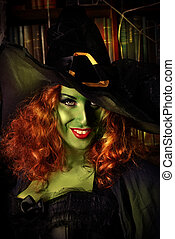 frightful - Close-up portrait of a fairy wicked witch in the...