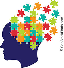 Concept of thought to solve brain. Vector icon