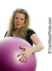 pretty middle age woman exercising with dumbells