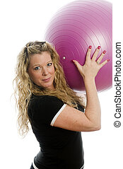 pretty middle age woman exercising with dumbells - pretty...
