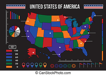 USA map infographic vector illustration