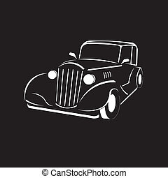 Vintage car. Classic look. Old fashioned.