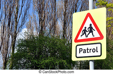 School Patrol Crossing Sign - Typical school crossing patrol...