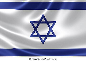 Close Up of Israel's Flag - 3D rendering of the Israeli flag...