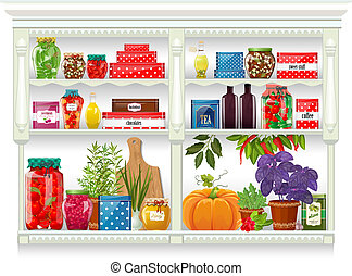 Fresh produce and glass bottles with preserved food at home