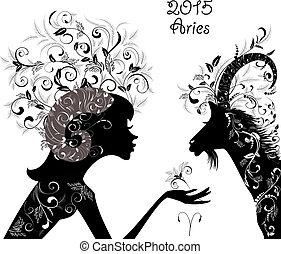 2015, année, beau, chèvre, zodiaque, signe,...