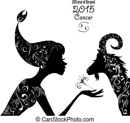 2015 year of the beautiful goat and Zodiac sign cancer....
