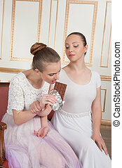 Ballet dancers posing with chocolate