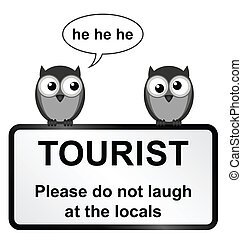 Tourist sign - Monochrome comical tourist sign with owls...