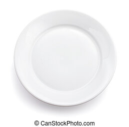 White plate isolated.