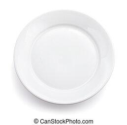 isolado, prato, branca