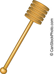 Wooden honey dipper isolated on white background