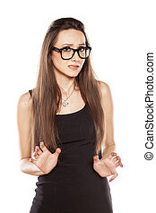 Im not guilty - young woman with spectacles with a gesture...