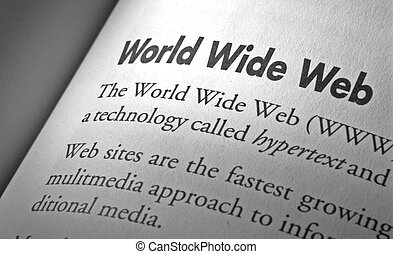 world wide web - close up on text world wide web, printed on...