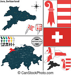 Map of Jura, Switzerland - Vector map of canton Jura with...