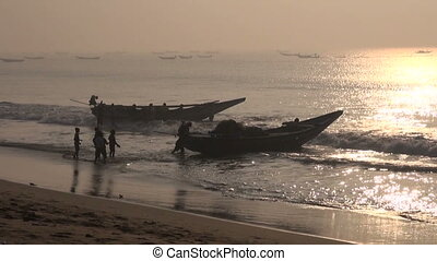 fishermens and boats silhouette