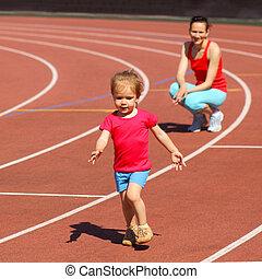 madre, y, poco, hija, Funcionamiento, alrededor, estadio,...