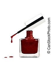 Nail Poish - Sparkling red nail polish in a bottle with a...