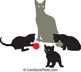 Cat Family at play - illustration cat and three kittens are...