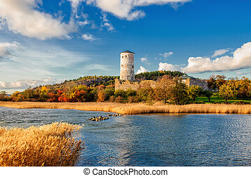 Autumn in Sweden - Stegeborg during autumn. Stegeborg is a...