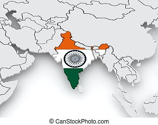 Map of worlds India 3d