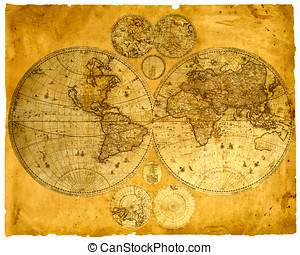 Old paper world map. - Old paper world map retro ancient...