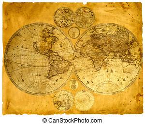 antigas, papel, mundo, mapa