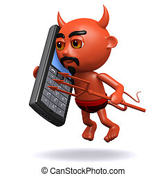 3d Devil chats on a mobile phone - 3d render of the devil...