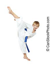 niño, kimono, se realiza, patada, pierna