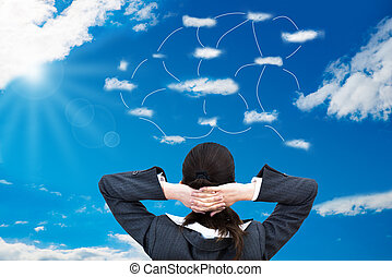Businesswoman Looking At Connected Clouds In Sky