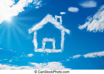House Shaped Cloud In The Blue Sky