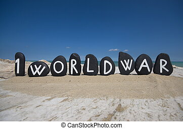 First World Centenary, 1914 - 2014 - Painted black stones...