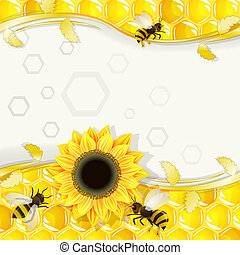Sunflowers and bees over honeycombs background