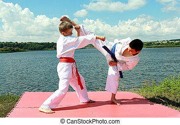 Athletes perform exercises karate - Athletes children...
