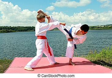atletas, actuar, ejercicios, karate