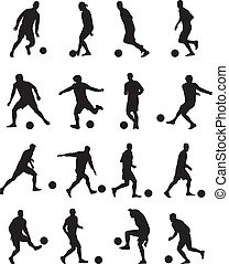 Football players silhouettes - Collection of football...